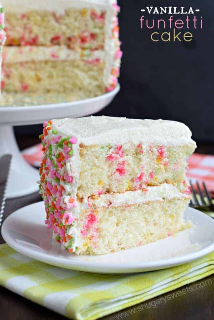 Delicious, from scratch, Vanilla Funfetti Cake! One bite of this moist cake and you'll be convinced it's the best!