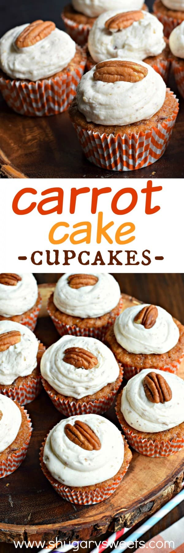 Delicious, from scratch, Carrot Cake Cupcakes with a cream cheese frosting!