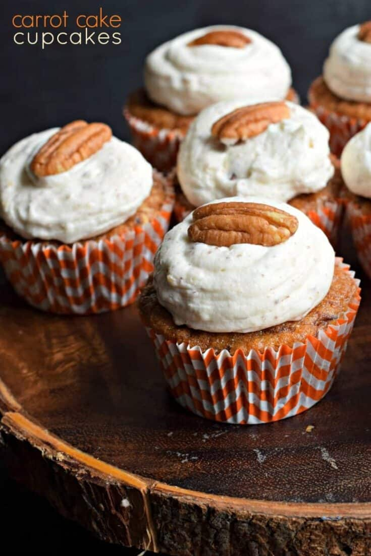 Love Carrot Cake? These delicious Carrot Cake Cupcakes have a delicious Cream Cheese Frosting! Perfect for a weekday dessert or weekend potluck!