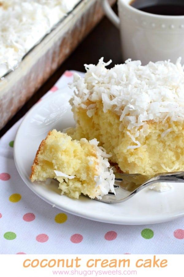 Coconut Cream Poke Cake recipe is perfect for a brunch, potluck or a ...