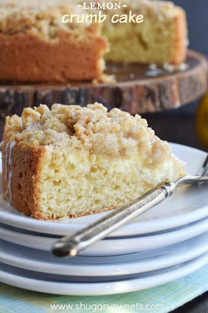 Thick Lemon Crumb Cake with a cheesecake filling! Perfect for breakfast or dessert.