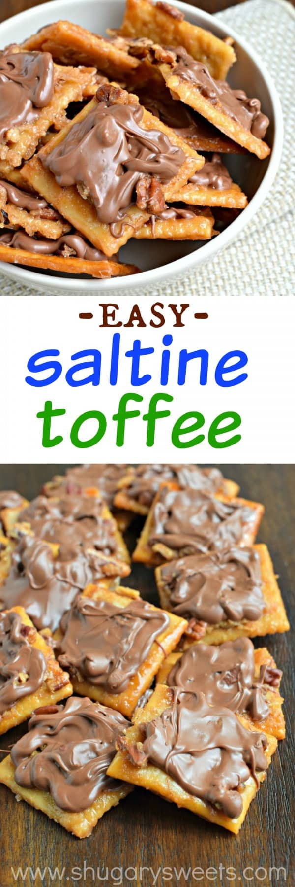 Saltine Toffee: super easy toffee recipe made with crackers! Crispy, buttery and out of this world delicious!