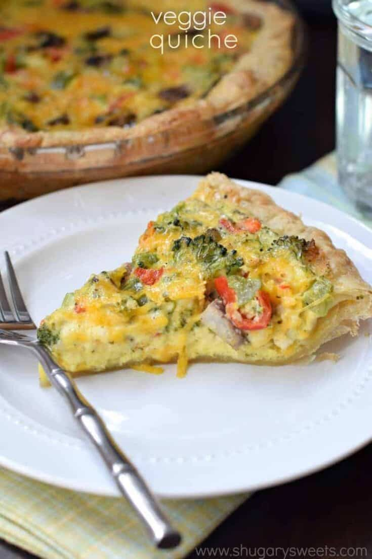 The buttery puff pastry is the perfect crust to this Veggie Quiche! Serve one for brunch or make it for dinner!