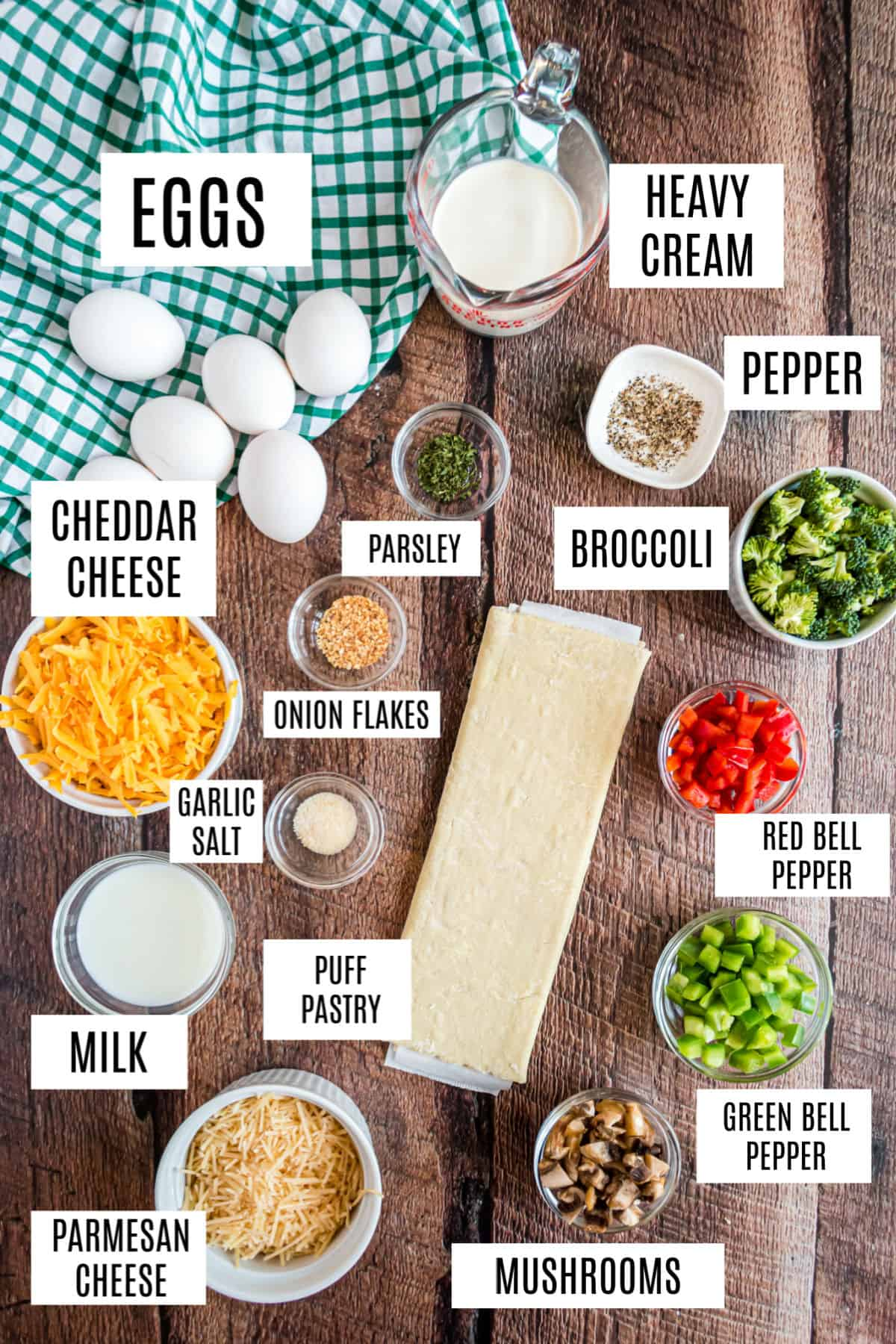 Ingredients needed for vegetable quiche recipe.