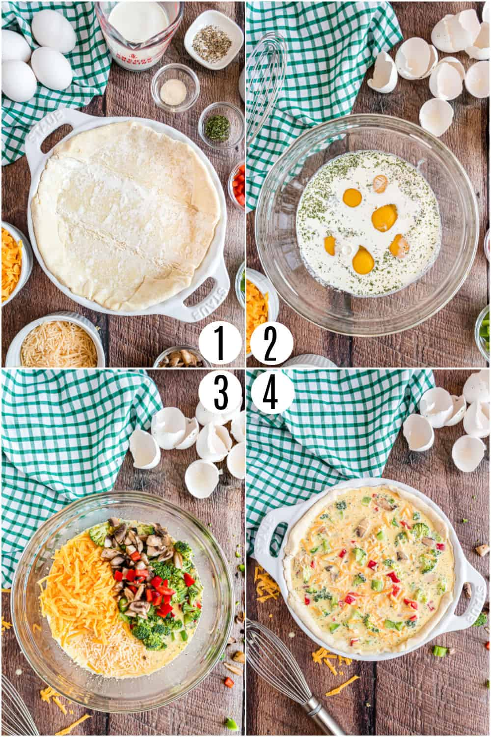 Step by step photos showing how to make a vegetable quiche in a pie plate.