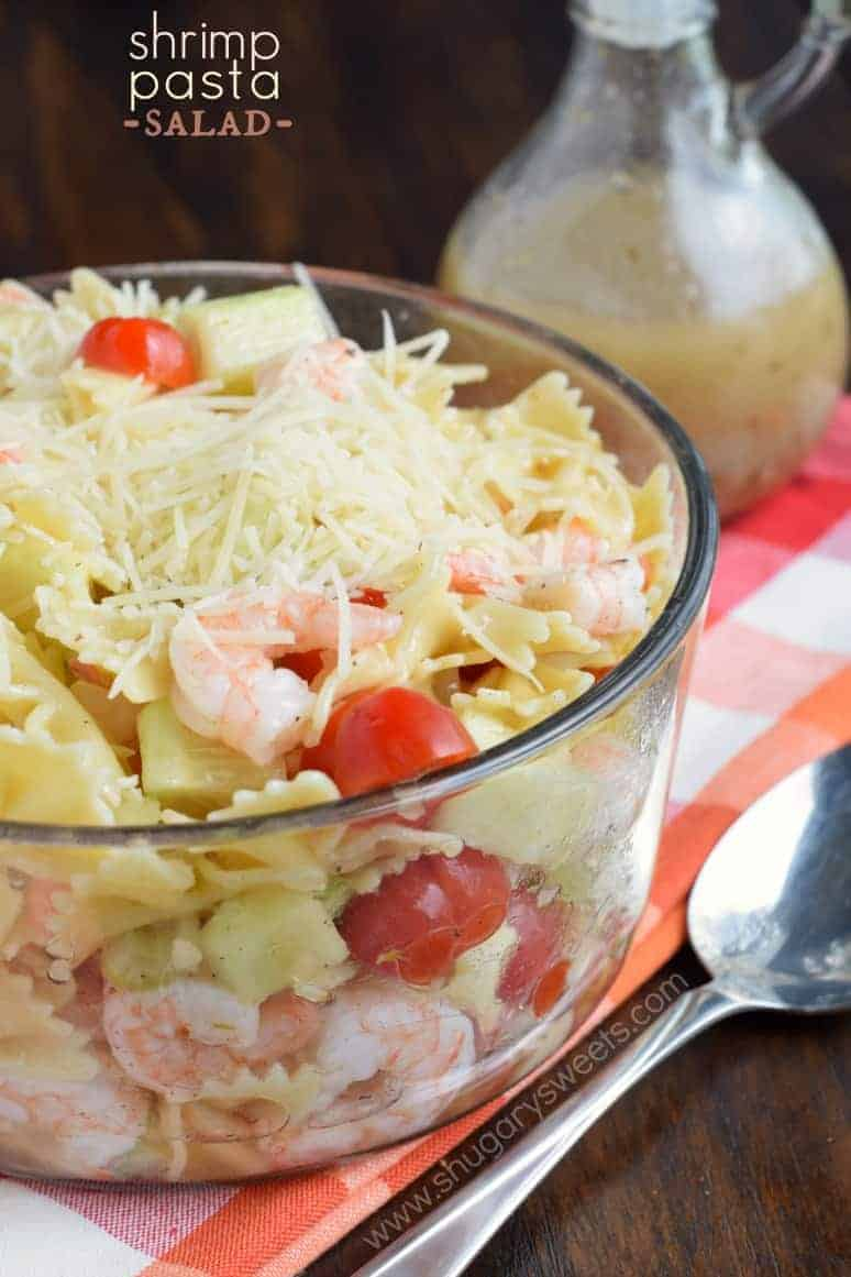 Simple Shrimp Pasta Salad with a homemade Italian dressing. Perfect ...