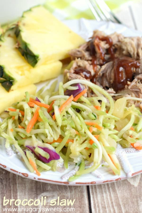This sweet vinegar Broccoli Slaw is the perfect pairing to your meal. Serve with my favorite shredded Kalua Pork!
