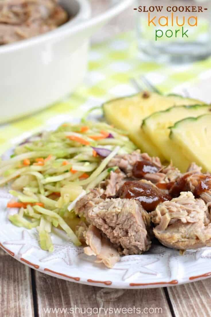 Flavorful, moist, Kalua Pork recipe with a broccoli slaw side!