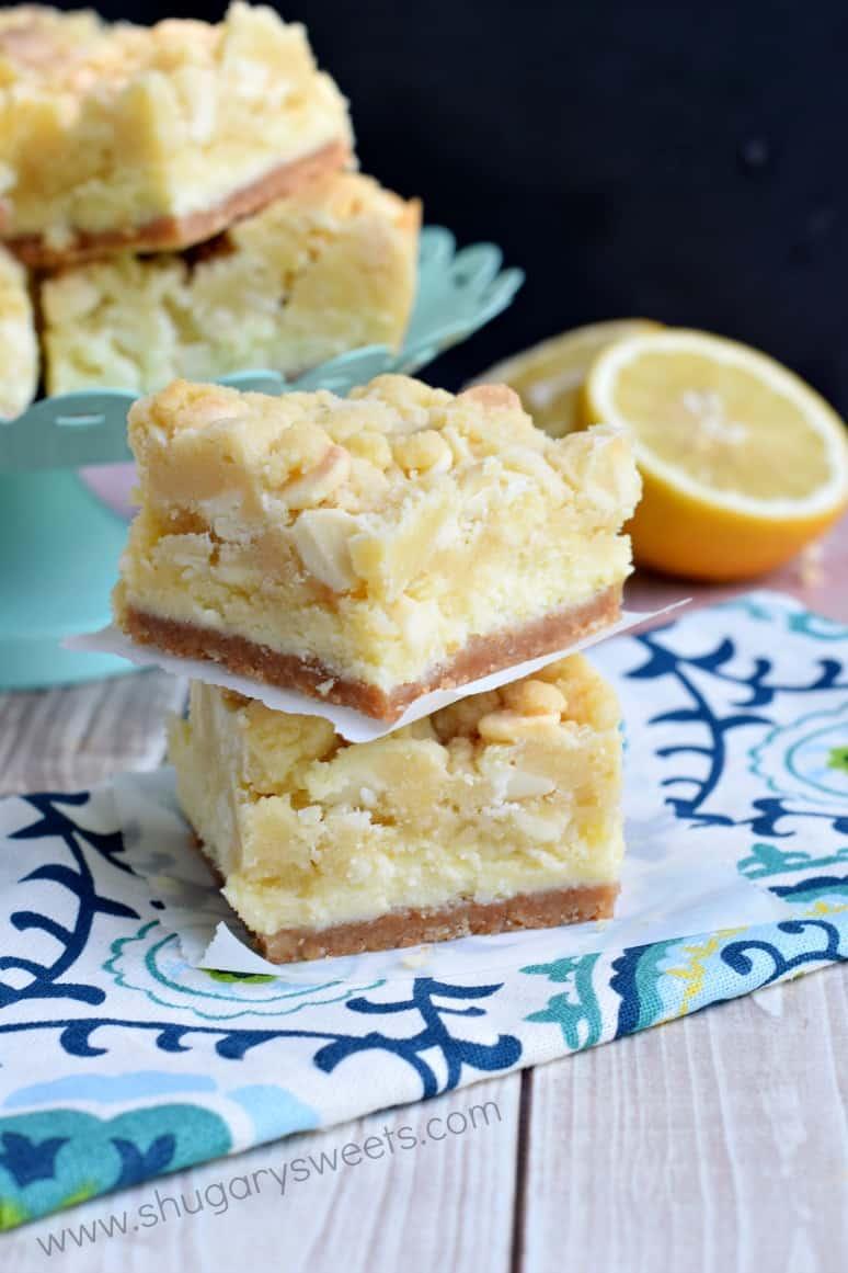 Lemon Cheesecake Bars - Shugary Sweets