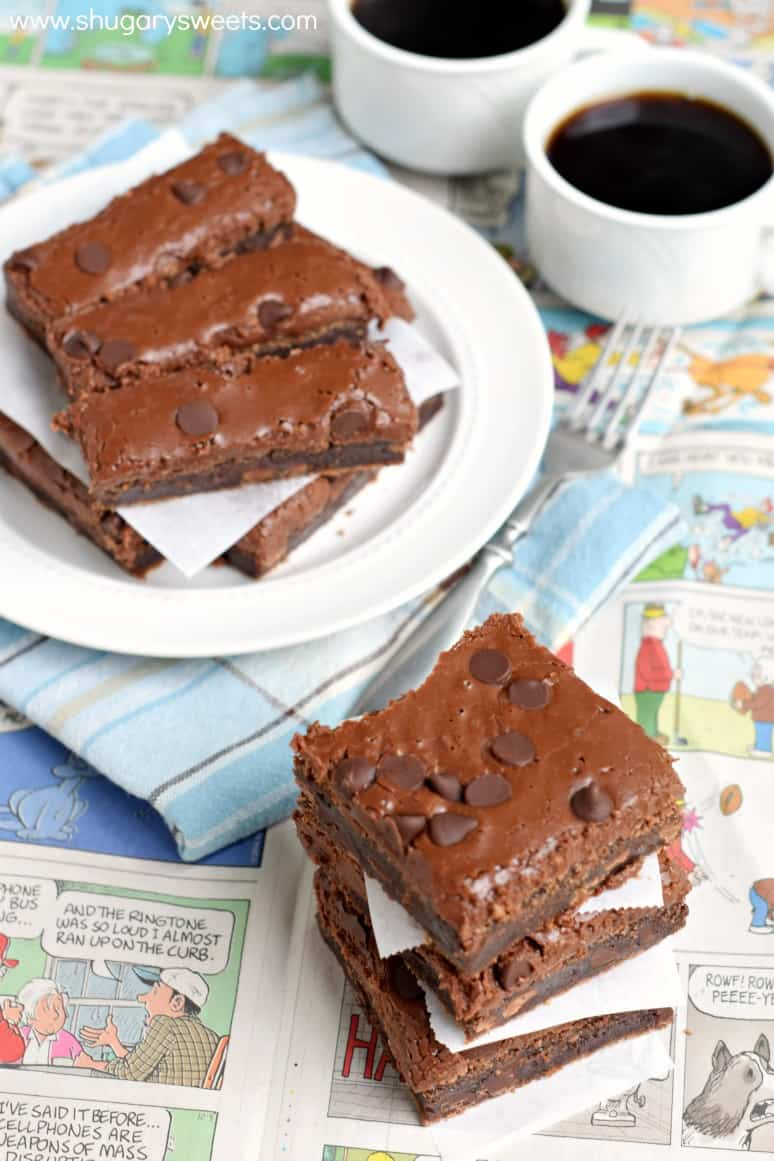 Buttermilk brownies cut into squares and rectangles for serving with coffee.