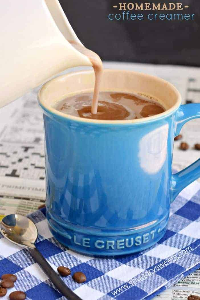 Homemade coffee creamer is easy with 4 simple ingredients. Chocolate Marshmallow Coffee Creamer recipe!