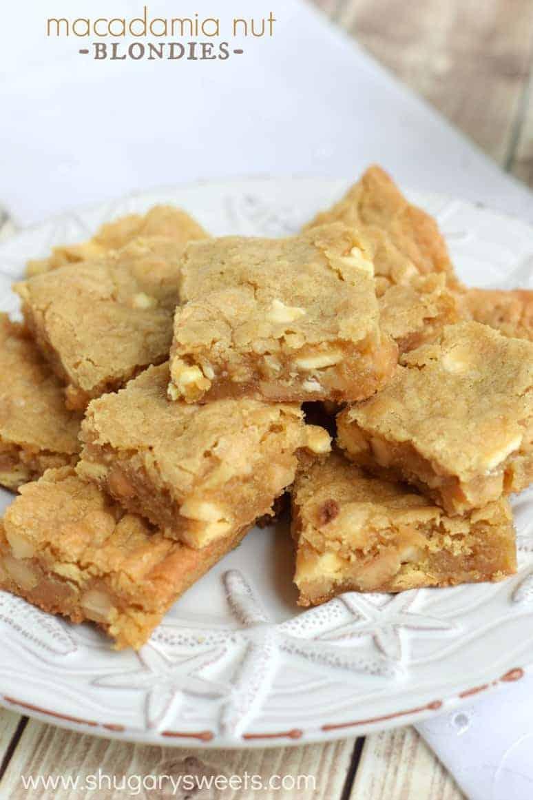 Macadamia Nut Blondies - Shugary Sweets
