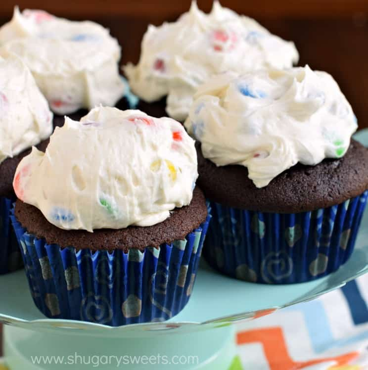 The Most Delicious From Scratch Chocolate Cupcakes Pile High With Creamy M M Frosting