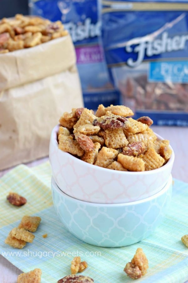 You can't stop eating this one!! Easy, Nutty Caramel Snack Mix is a great lunch snack to make at home, for kids and adults! #thinkfisher
