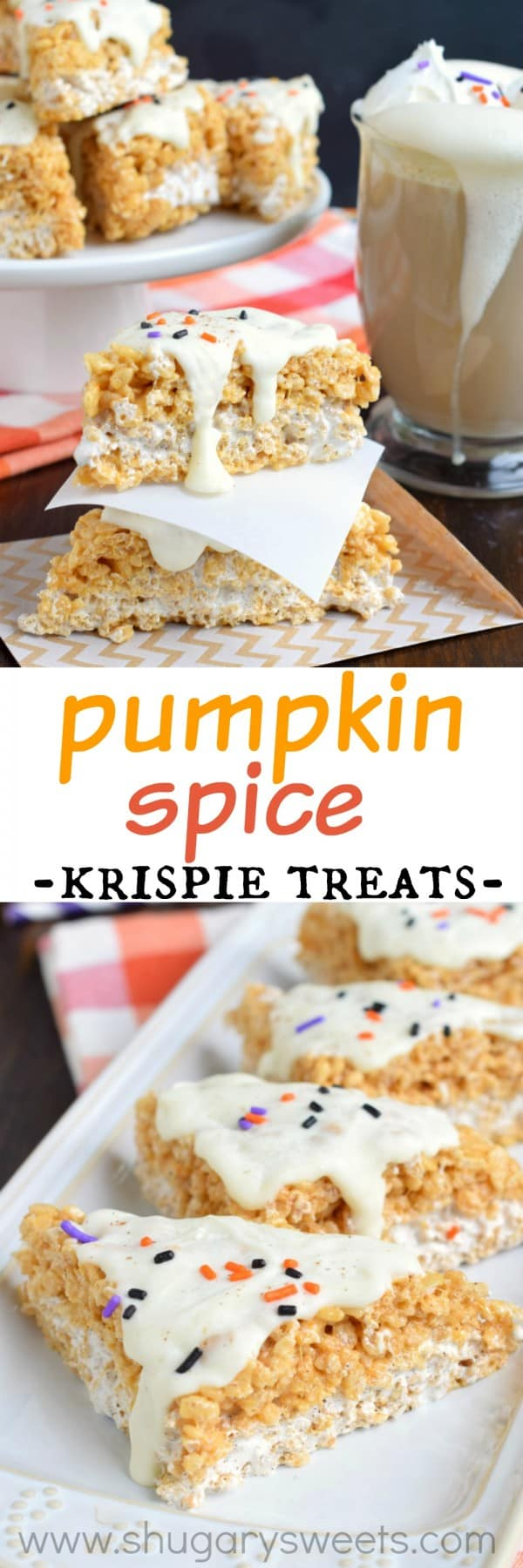 Chewy Pumpkin Spice Latte Krispie Treats with all the delicious fall flavors. And a pinch of espresso for good measure!