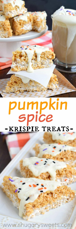 Pumpkin Spice Latte Krispie Treats - Shugary Sweets