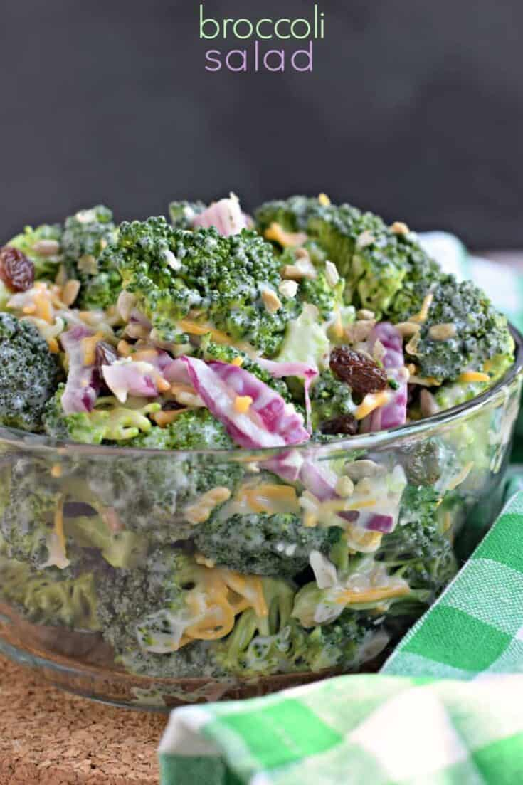 Every potluck needs the Best Broccoli Salad recipe on the table. With broccoli, cheddar cheese, red onion, and bacon topped with a sweet and tangy dressing, it's the perfect easy summer side dish!