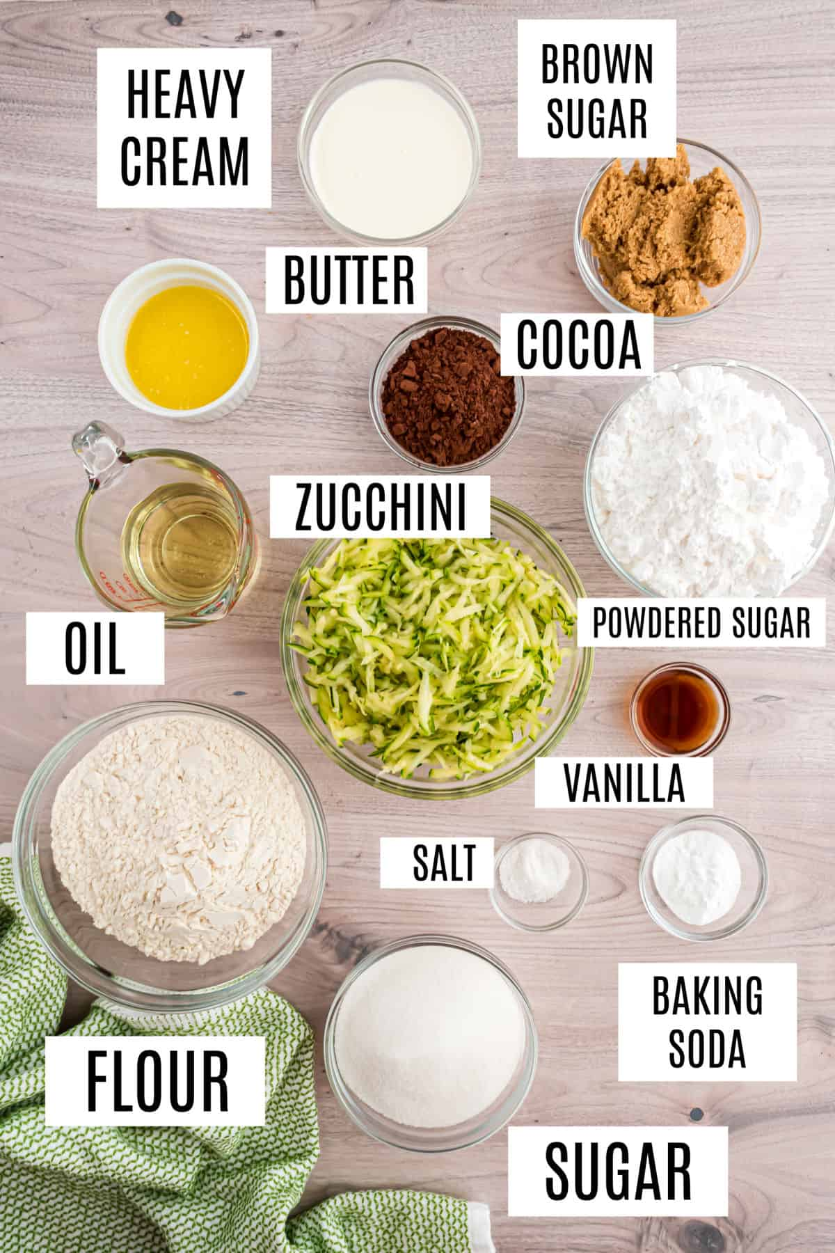 Ingredients needed for chocolate zucchini brownies.