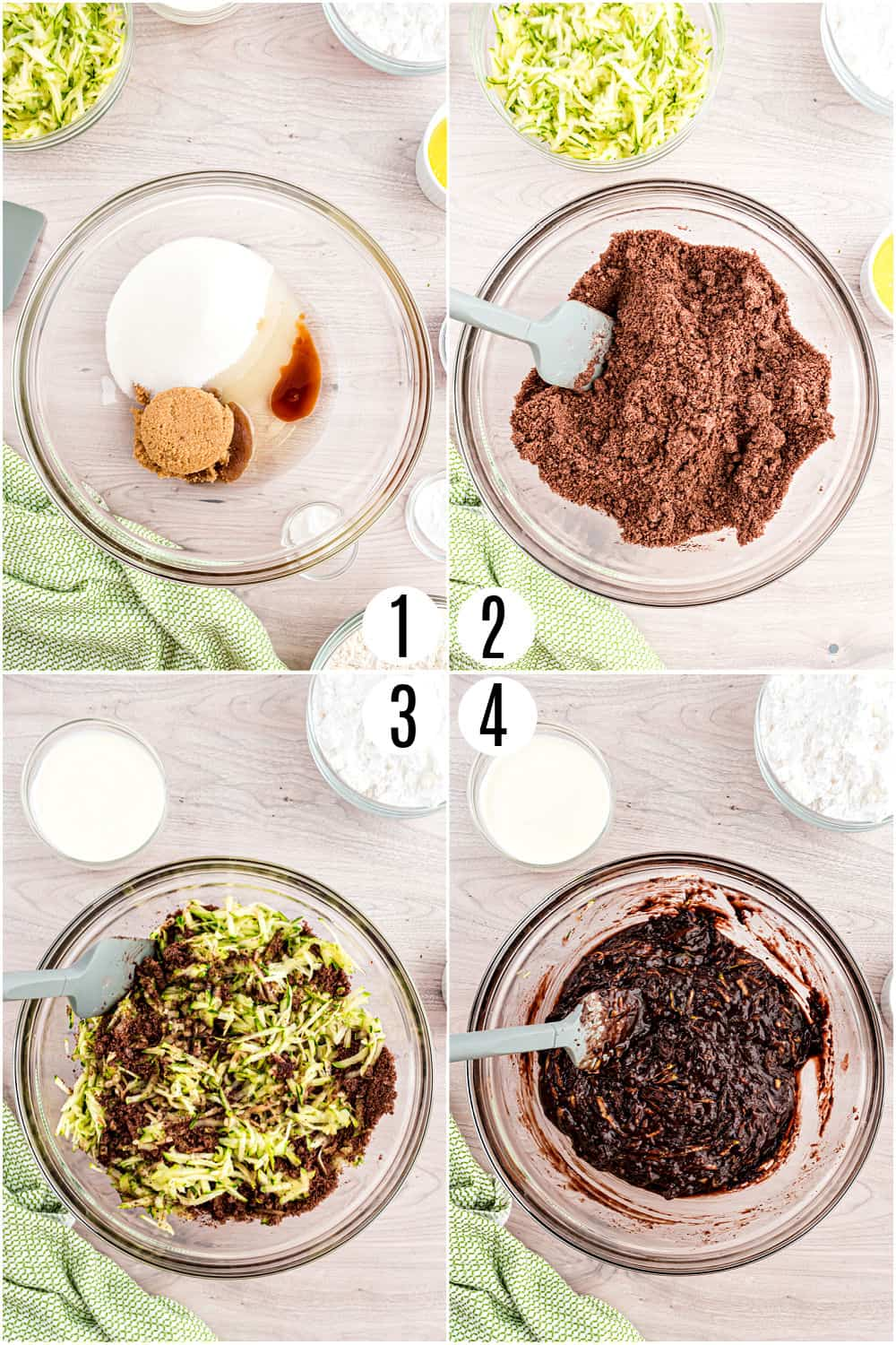 Step by step photos showing how to make double chocolate zucchini brownies.