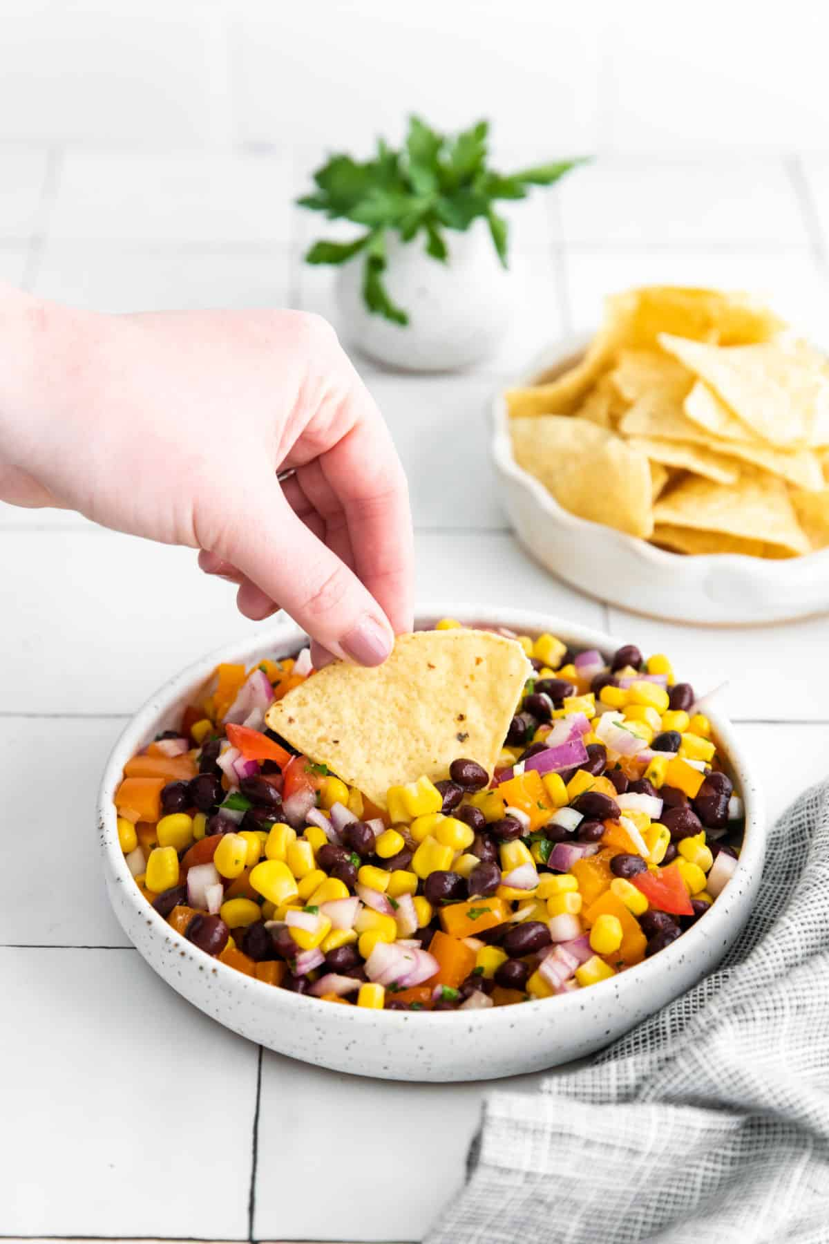 Corn and black bean salsa in a bowl with a tortilla chip being dipped.
