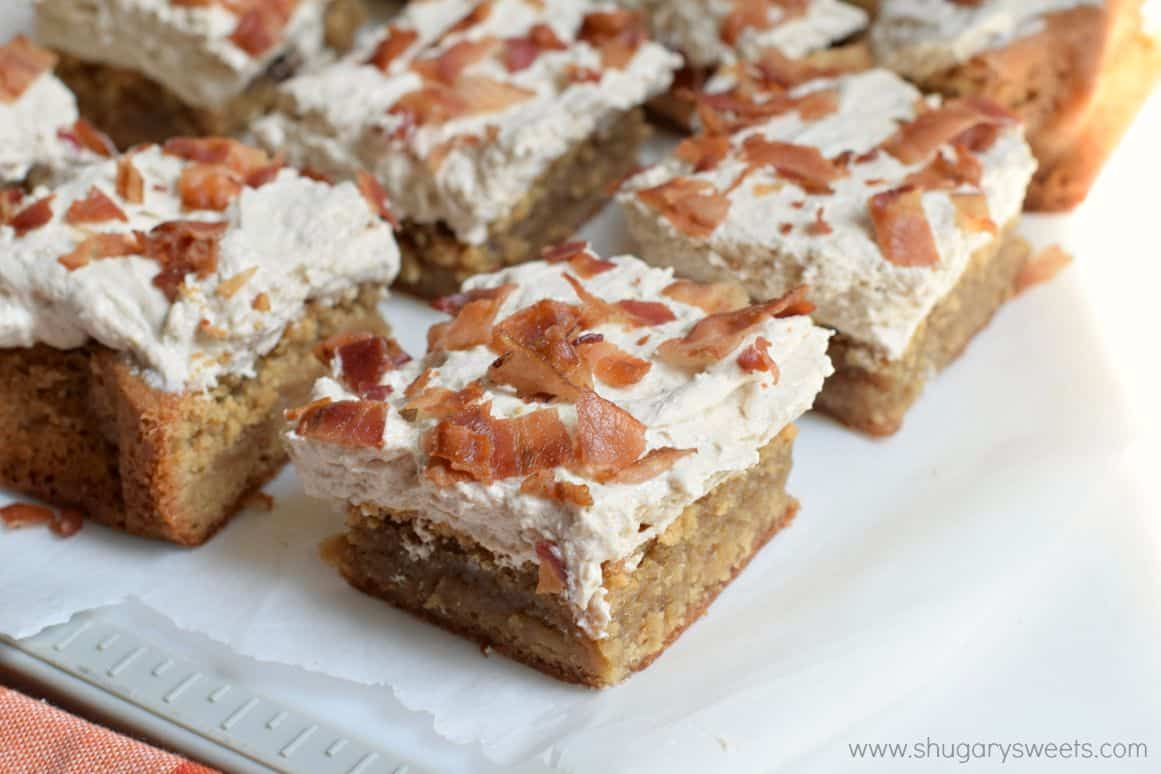Maple Bacon Blondies - Shugary Sweets