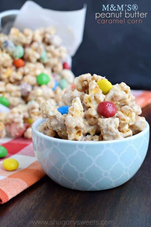 Snack time just got tastier with this homemade M&M'S® Peanut Butter Caramel Corn! Make a batch today!