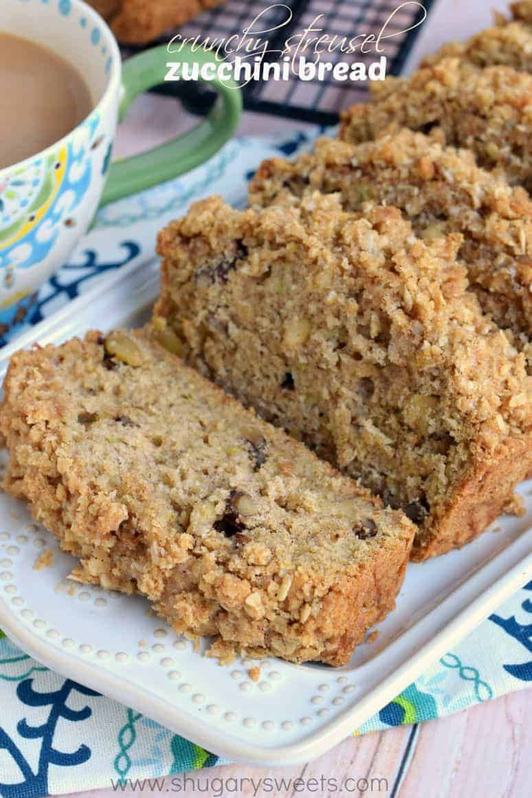 Crunchy streusel zucchini bread shugary sweets this crunchy streusel zucchini bread is chock full of walnuts and zucchini and topped with a forumfinder Choice Image