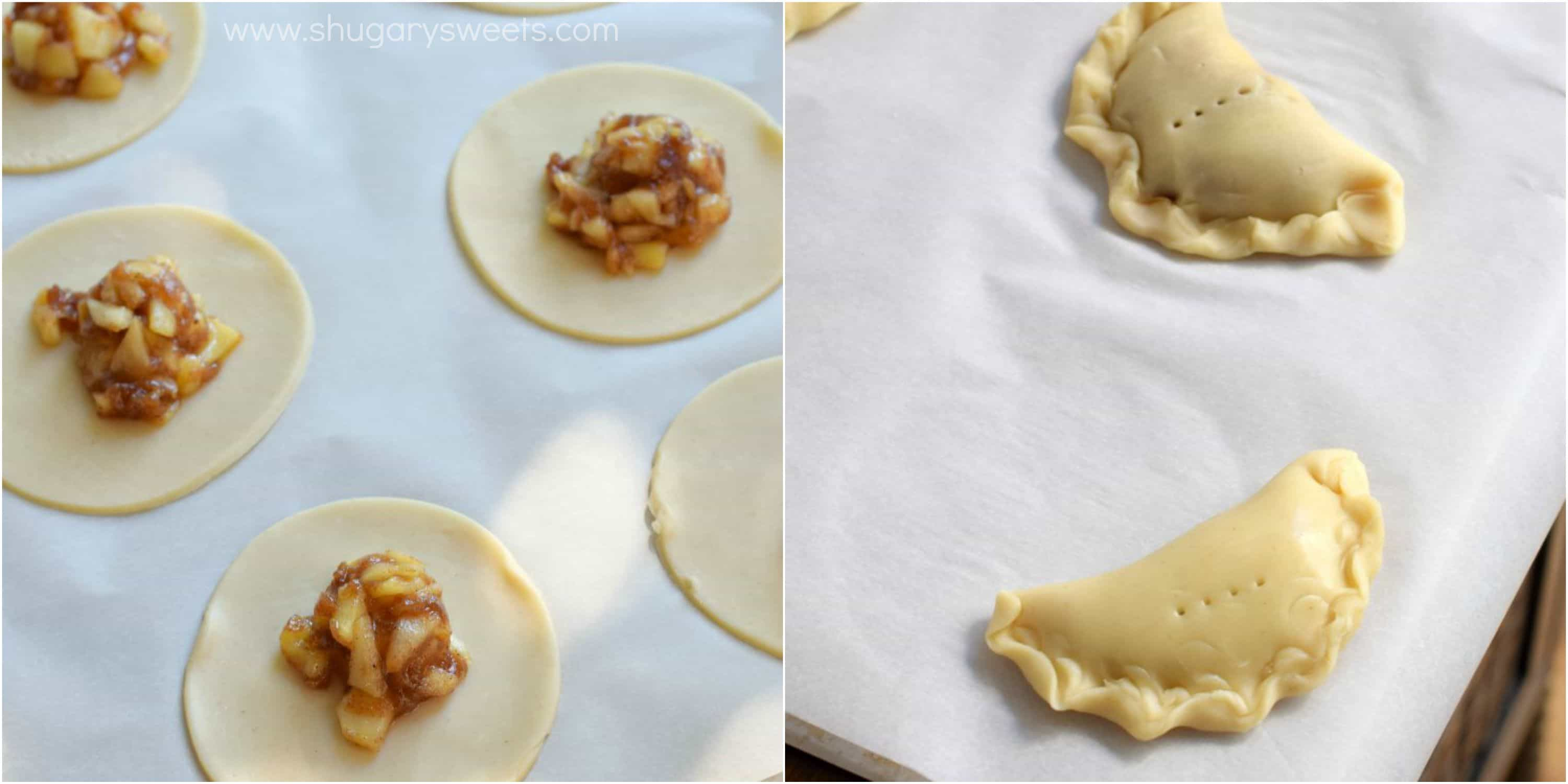 Collage photo with how to fill apple hand pies.