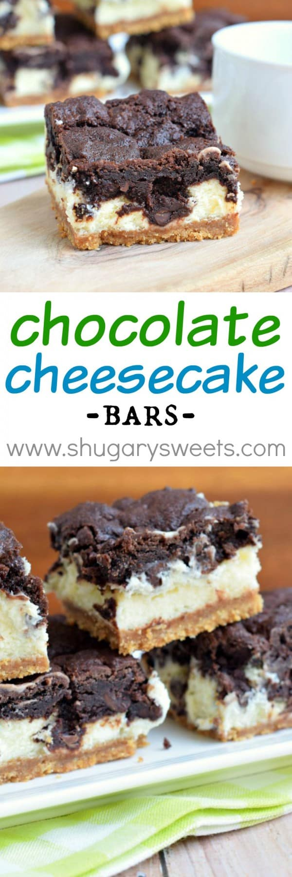 Chocolate Cheesecake Bars: graham cracker crust, creamy vanilla ...