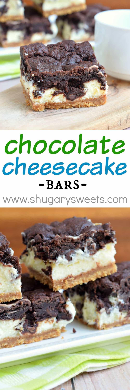 Chocolate Cheesecake Bars - Shugary Sweets