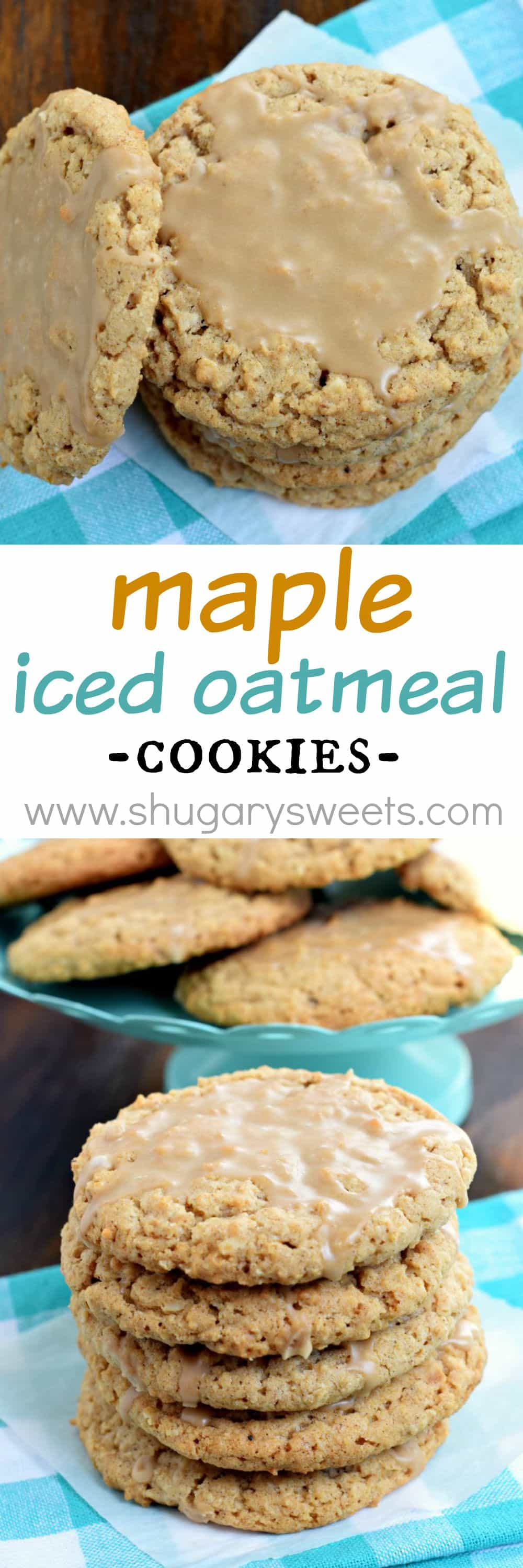 Maple Iced Oatmeal Cookies with a crunchy outside and a sweet, chewy ...