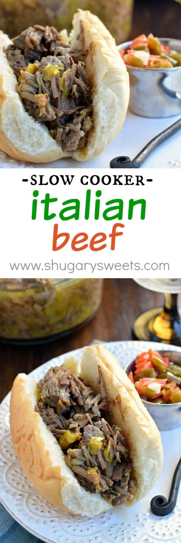This Slow Cooker Italian Beef is a Chicago classic! Easy to make with little prep work for your crockpot!