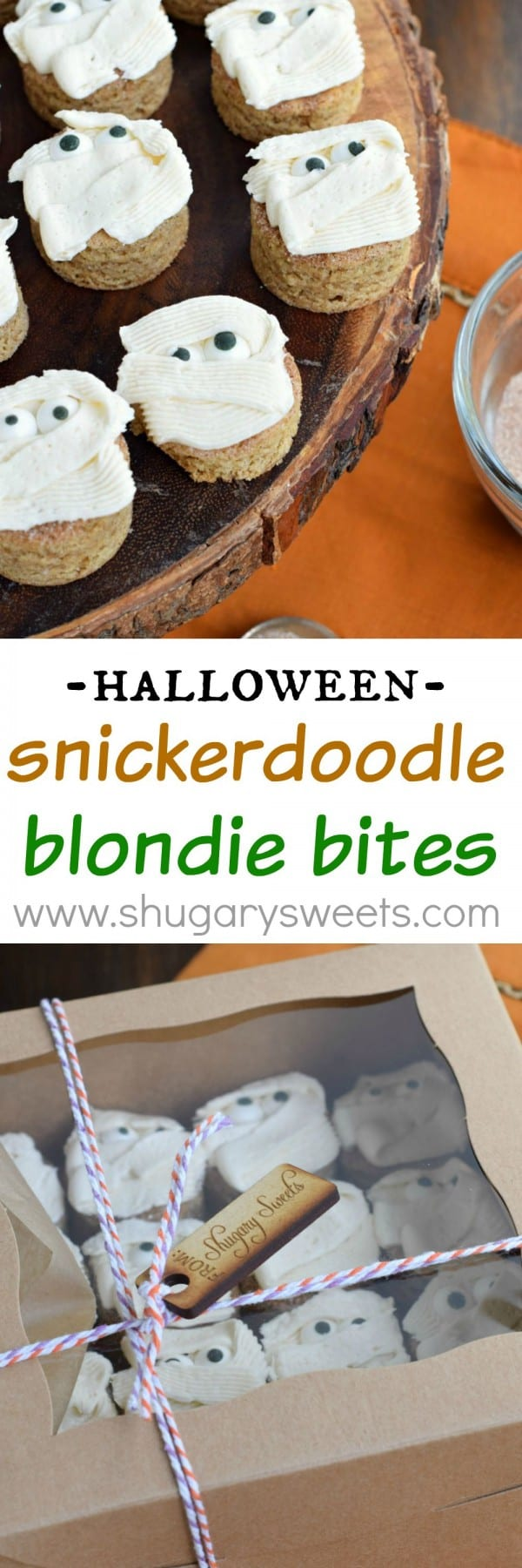 Snickerdoodle Blondie Bites with with buttercream frosting. Perfect holiday treats, easy to make too! Halloween Mummies!