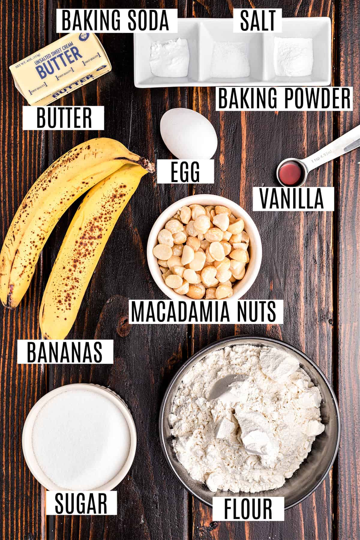 Ingredients needed for banana macadamia nut cake recipe.