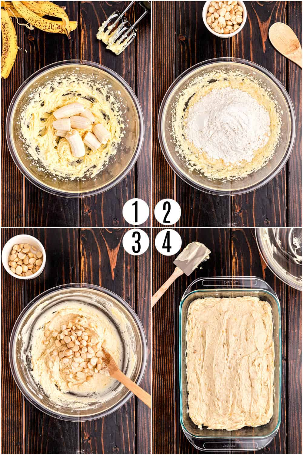 Step by step photos showing how to make banana cake with macadamia nuts and vanilla frosting.