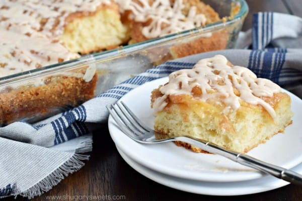 A delicious Cinnamon Apple Coffee Cake with the texture and flavor of cinnamon rolls! No need to shape or knead the delicious dough!
