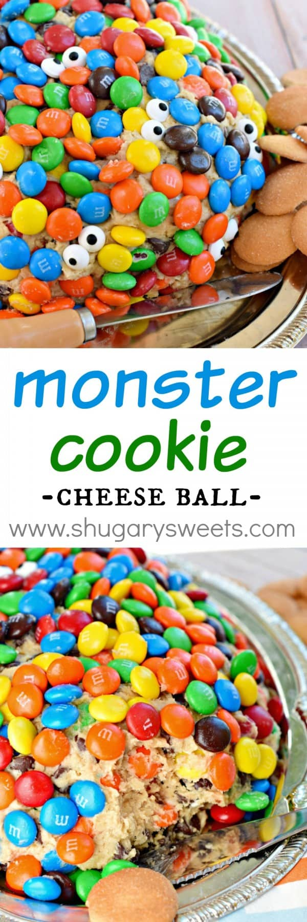 This Monster Cookie Cheese Ball recipe is a crowd pleaser! Stuffed with candy, chocolate and peanut butter, you're going to want to try this soon!