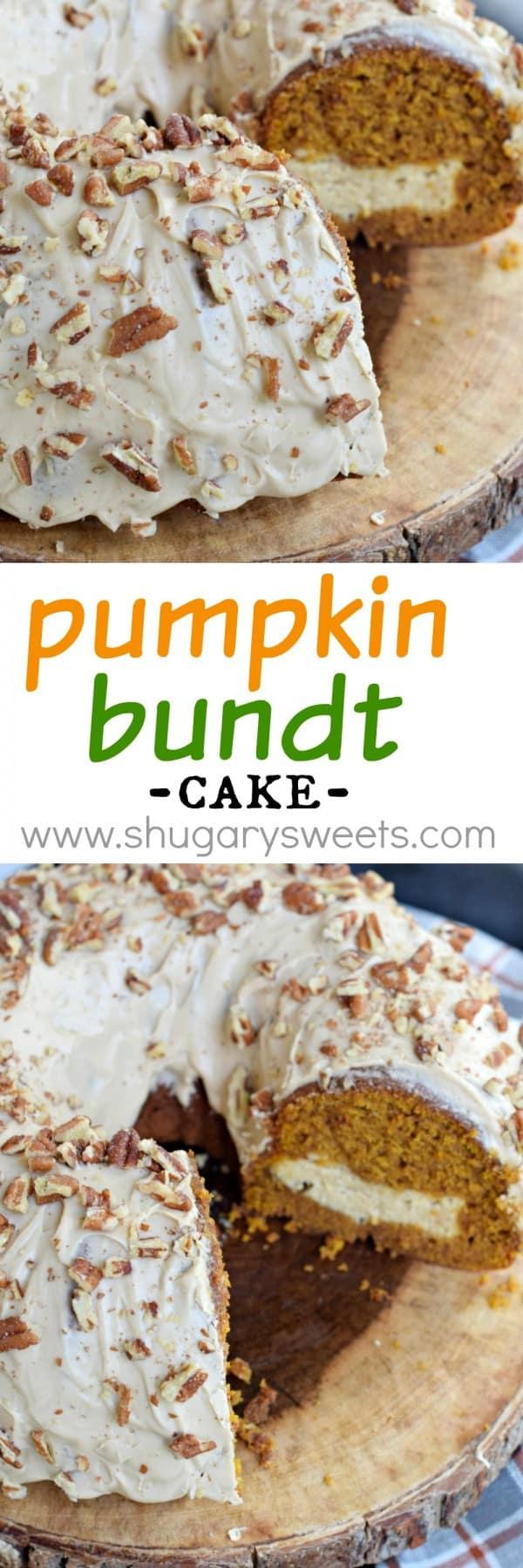 Pumpkin Cream Cheese Bundt Cake - Shugary Sweets