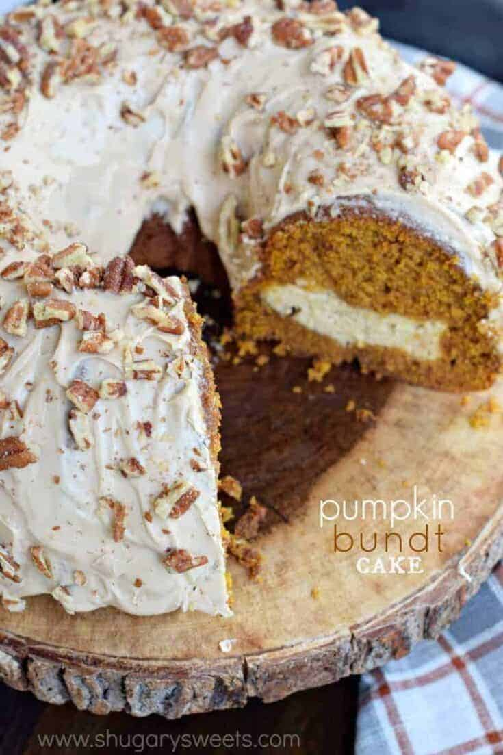 How about baking up a Pumpkin Cream Cheese Bundt Cake this fall? Not only will your house smell amazing, but the flavor of this pumpkin bundt cake with cream cheese filling will knock your socks off!
