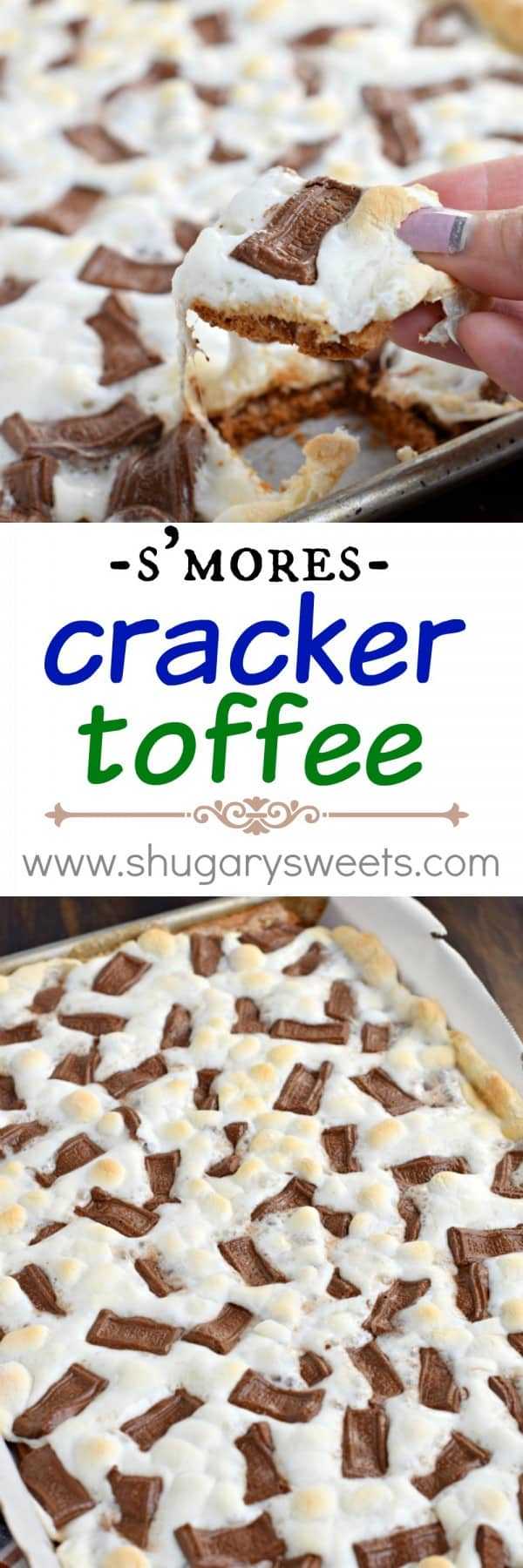 This S'mores Cracker toffee recipe has a graham cracker toffee base topped with gooey marshmallows and melted chocolate bars!