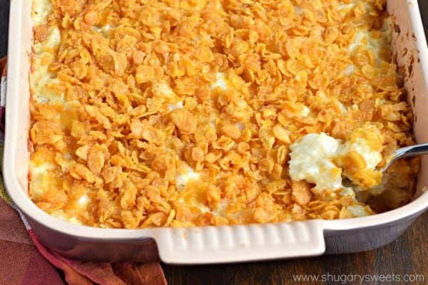 Hashbrown Casserole with cheese and cornflakes