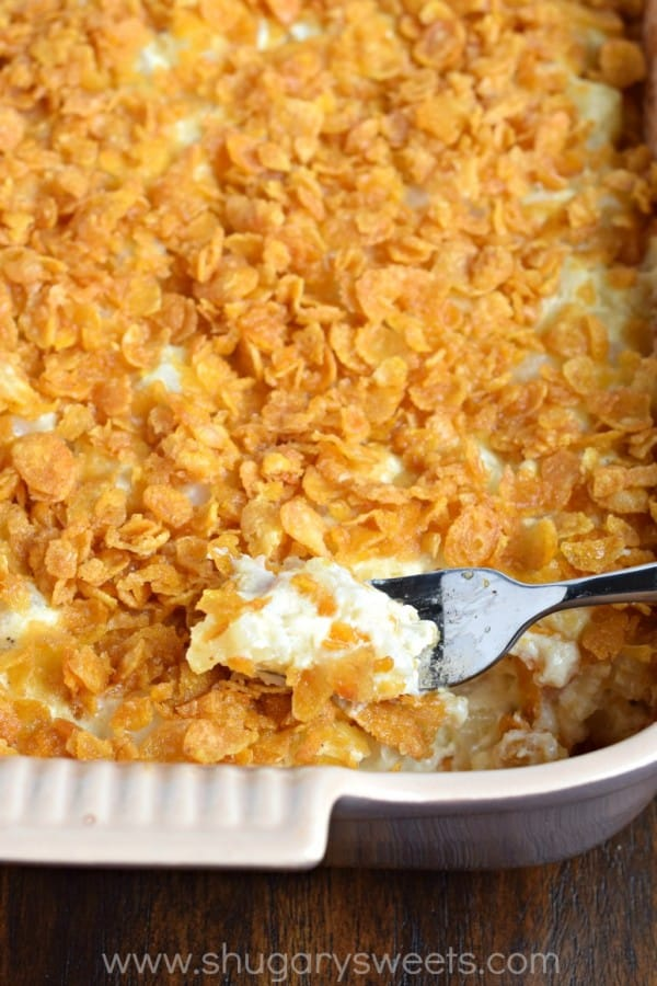 Cheesy Hashbrown Casserole recipe with cornflake topping