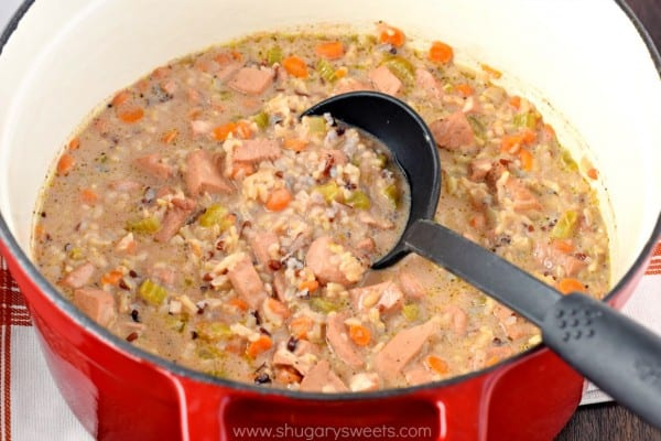Creamy Chicken Wild Rice Soup: the perfect comfort food recipe for dinner tonight! Also great with leftover turkey!