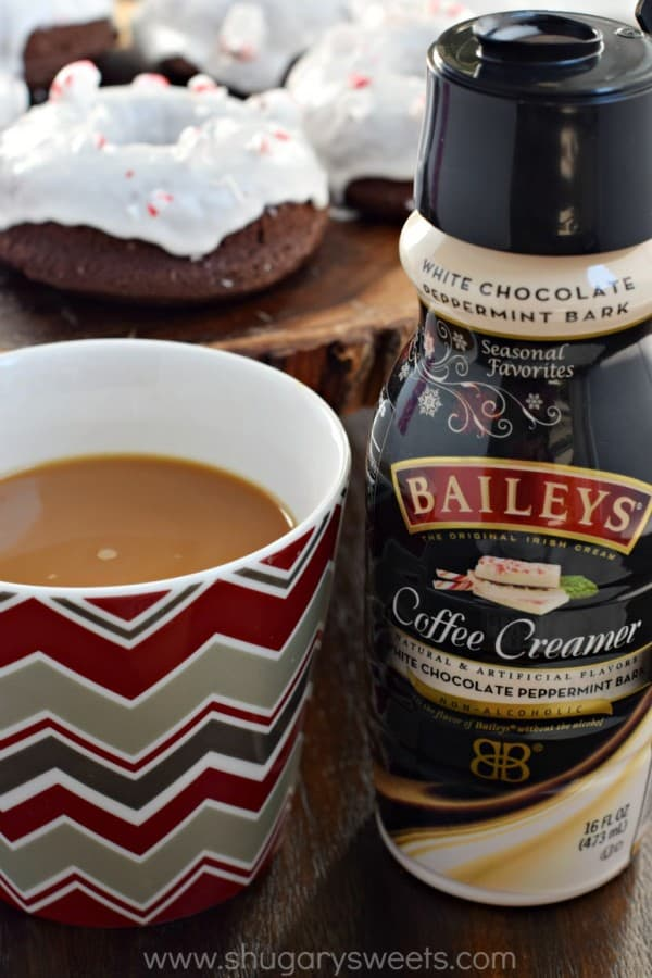 Baked Chocolate Peppermint Donuts made with BAILEYS Coffee Creamer! Super moist and decadent, these are a delicious breakfast treat for the holidays!
