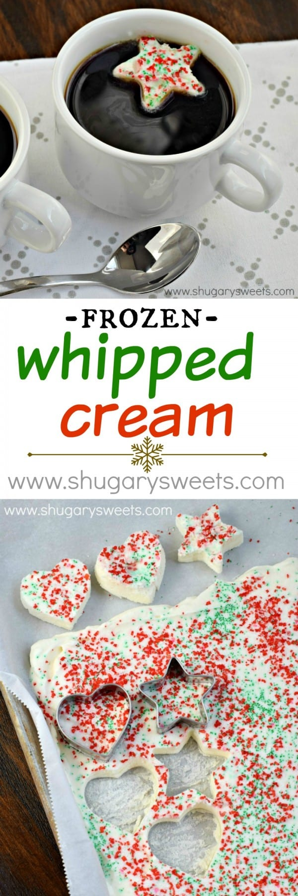 Classic Frozen Whipped Cream Topping to add fun and flavor to your hot beverage. Easy to make and prepare these ahead of time and store in your freezer for later!
