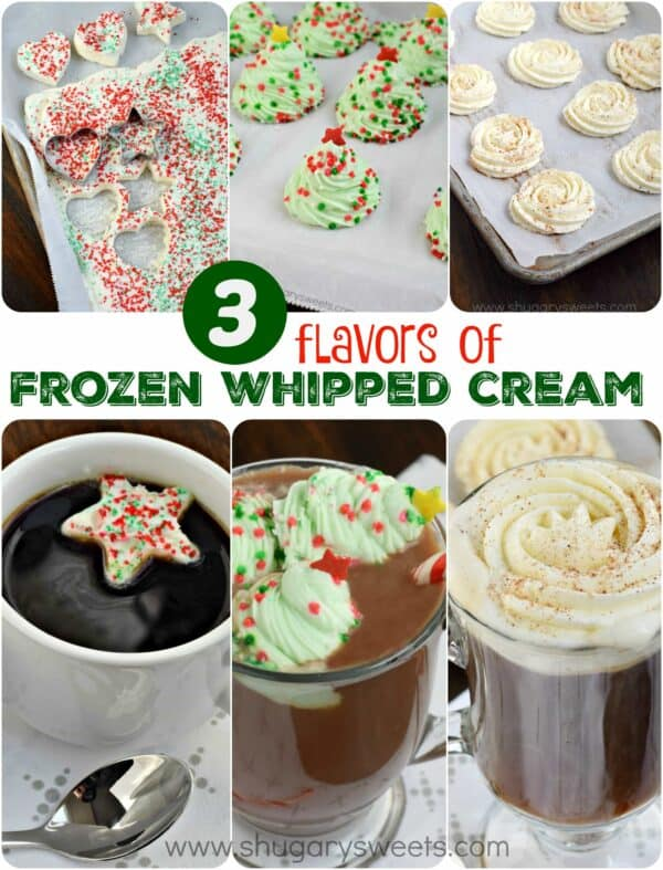 Such a fun and festive way to celebrate the holidays by adding some homemade FROZEN Whipped Cream to your beverage. 3 flavor combos in this recipe: Classic, Peppermint, and Eggnog