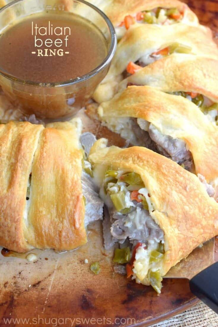 Game day Italian Beef Ring with au jus!