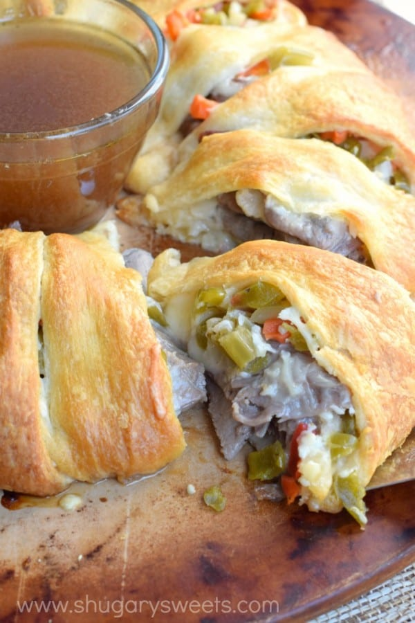 This Italian Beef Ring is a quick and easy dinner recipe. Make using my slow cooker italian beef, or store bought! Great game day appetizer too!
