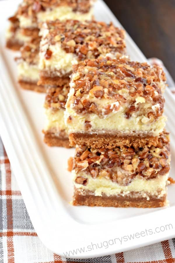 Incredibly delicious, Pecan Pie Cheesecake Bars are the perfect recipe for your holiday dessert table!