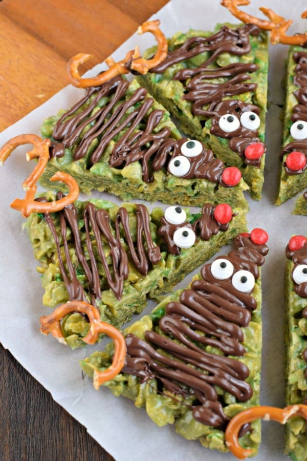 Only the best ingredients combine to make this recipe for HOLIDAY Scotcheroos! How adorable are these Reindeer? Plus a chewy, peanut butter treat is always a WIN!